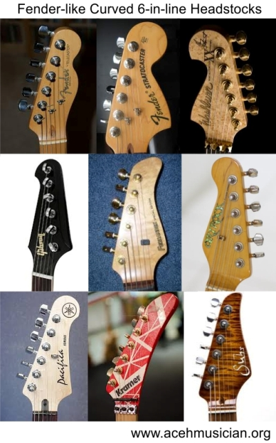 Fender-like curved 6-in-line headstocks