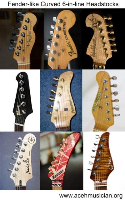 Fender-like curved 6-in-line headstocks