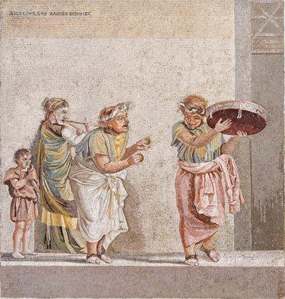 Mozaik Villa del Cicerone dari reuntuhan kota Pompeii (pemusik memainkan semacam cymbal yang sangat kecil ditengah)
