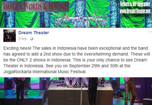 Dream Theater tambah jadwal tur di Indonesia